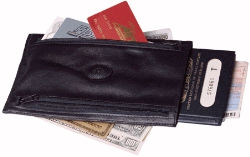 Leather travel currency wallets